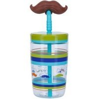 Contigo Детский стакан с соломинкой Funny straw Electric blue Mustache, 0.47 л